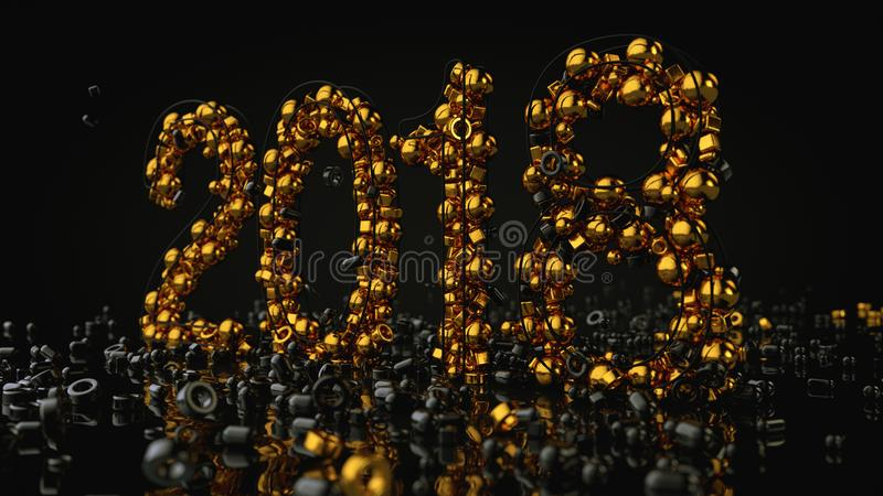 Οι χρυσές πέτρες τακτοποίησαν σε αριθμό το 2018, τρισδιάστατη απόδοση στοκ εικόνα με δικαίωμα ελεύθερης χρήσης