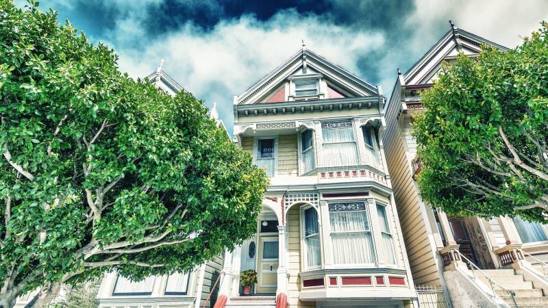 Οι χρωματισμένες κυρίες στο Σαν Φρανσίσκο που περιβάλλεται από τα δέντρα στοκ φωτογραφίες