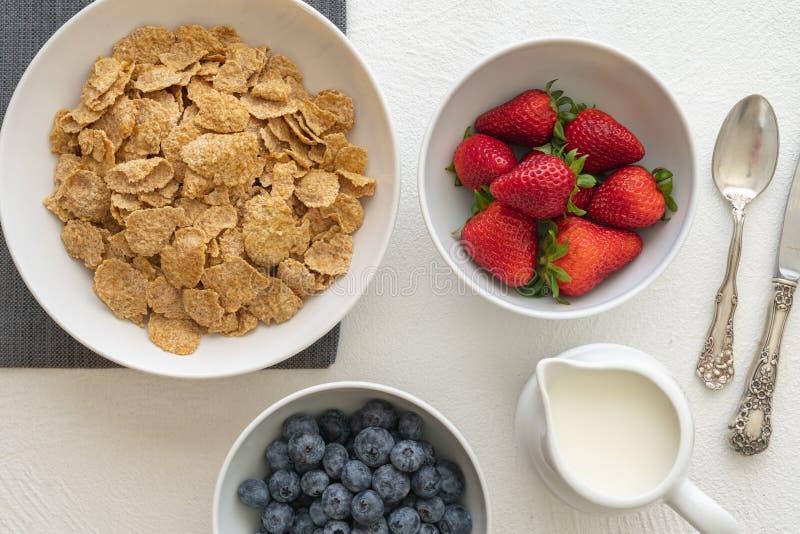 Οι ψημένες Oatmeal νιφάδες με το γάλα και τα φρέσκα μούρα, κλείνουν επάνω, στο άσπρο υπόβαθρο, τη τοπ άποψη Καλή πηγή ίνας και βι στοκ φωτογραφία με δικαίωμα ελεύθερης χρήσης