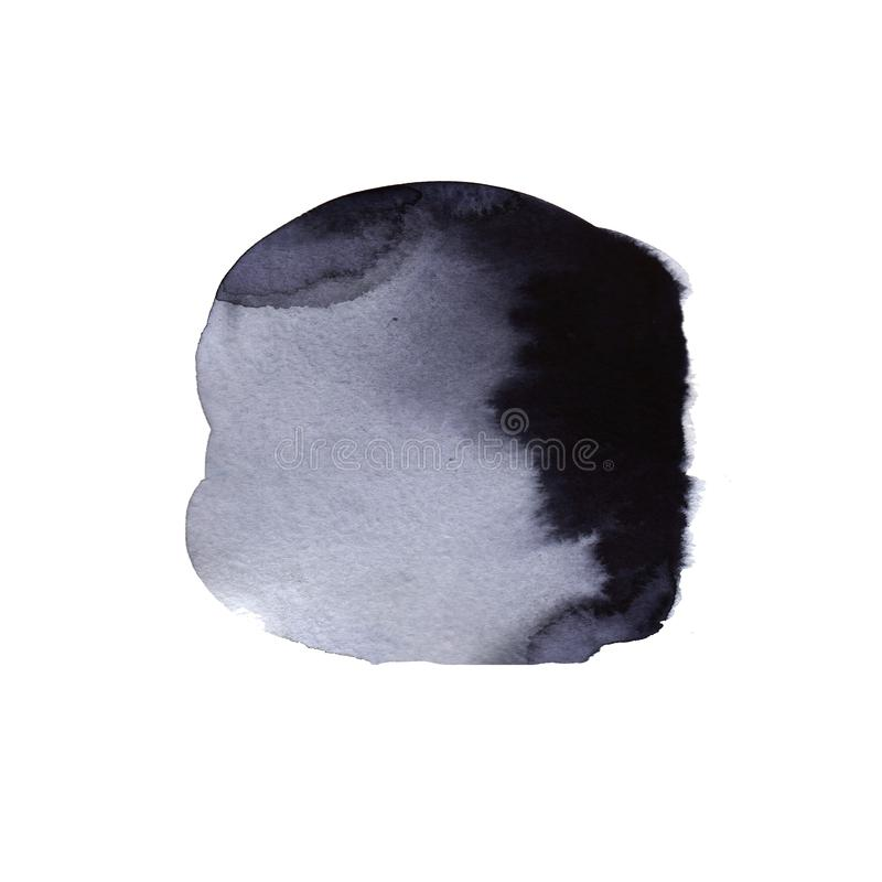 Οι όμορφες πτώσεις μελανιού watercolor στη Λευκή Βίβλο, χρωματίζουν την ξέβαήν άνθιση, με μαύρα να επεκταθούν ροής κύκλων οργανικ ελεύθερη απεικόνιση δικαιώματος