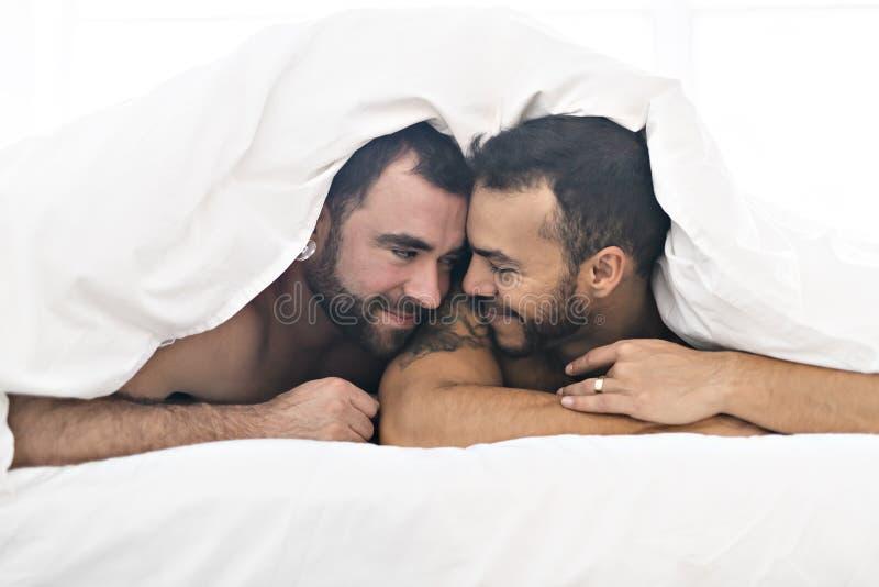 Οι όμορφοι ομοφυλόφιλοι συνδέουν στο κρεβάτι από κοινού στοκ εικόνες με δικαίωμα ελεύθερης χρήσης