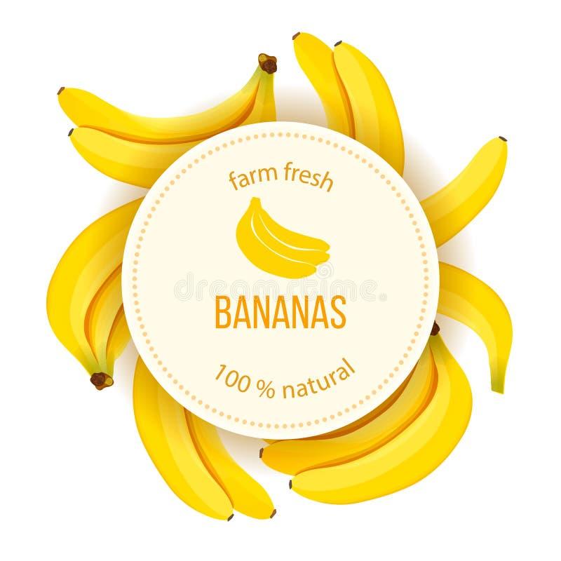 Οι ώριμες μπανάνες γύρω από το διακριτικό κύκλων με το κείμενο καλλιεργούν φρέσκο φυσικό διανυσματική απεικόνιση