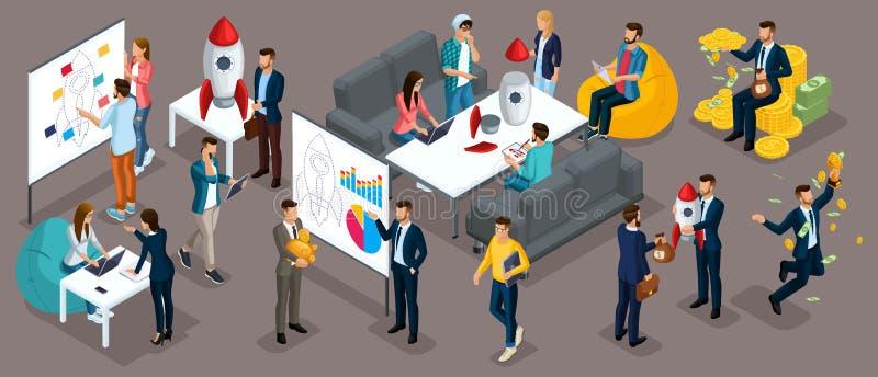 Οι Isometric άνθρωποι, επιχειρηματίες παρουσιάζουν ένα νέο επιχειρηματικό σχέδιο προγράμματος ξεκινήματος, ανάπτυξη της αναζήτηση ελεύθερη απεικόνιση δικαιώματος