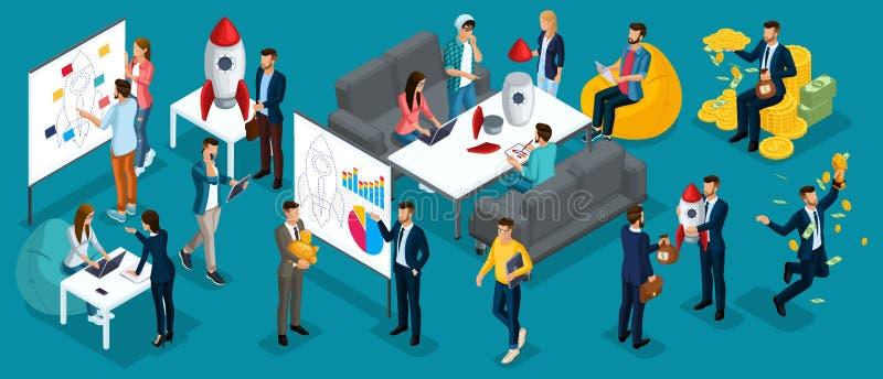 Οι Isometric άνθρωποι, επιχειρηματίες παρουσιάζουν ένα νέο επιχειρηματικό σχέδιο προγράμματος ξεκινήματος, ανάπτυξη της αναζήτηση απεικόνιση αποθεμάτων