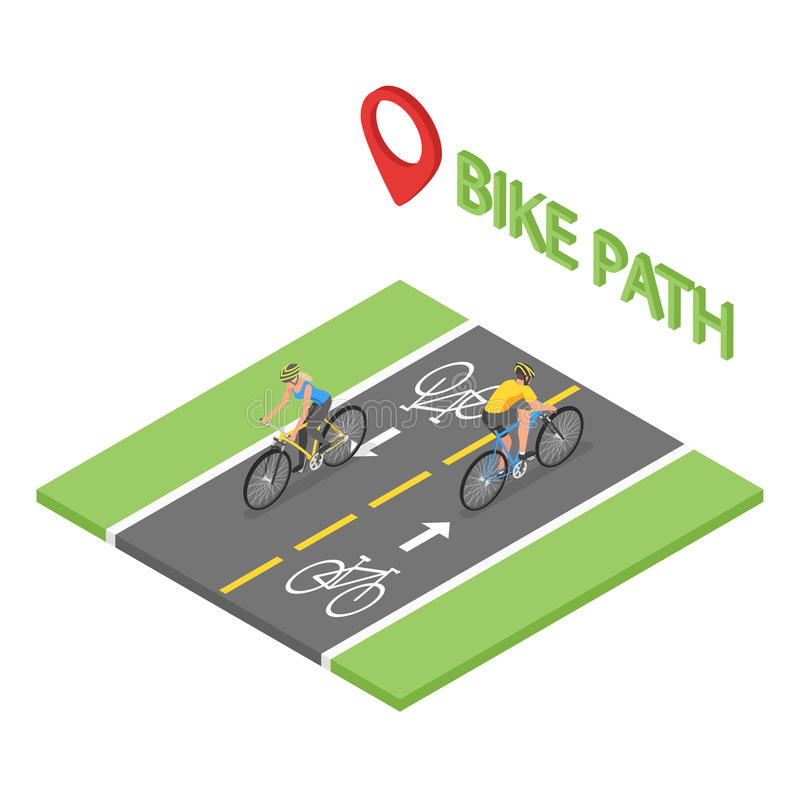 Οι Isometric άνθρωποι στο ποδήλατο οδηγούν στην πάροδο ποδηλάτων απεικόνιση αποθεμάτων
