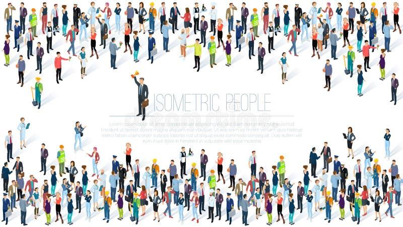 Οι Isometric άνθρωποι συσσωρεύουν διανυσματική απεικόνιση
