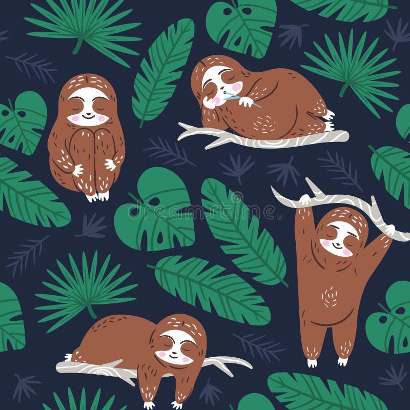 Οκνηρή χαριτωμένη νωθρότητα που ονειρεύεται στη ζούγκλα Υφαντικό άνευ ραφής διανυσματικό σχέδιο Διακόσμηση ταπετσαριών για τη συσ απεικόνιση αποθεμάτων