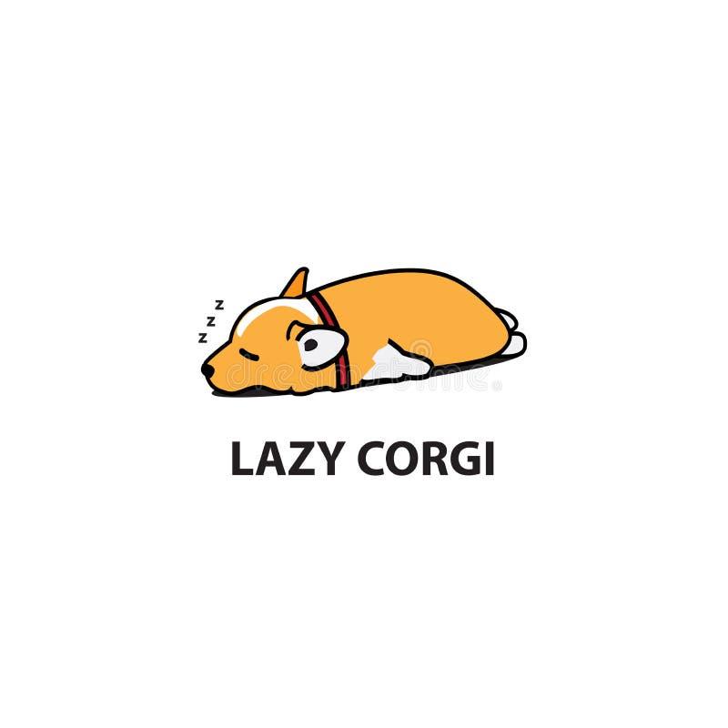 Οκνηρό σκυλί, χαριτωμένο εικονίδιο ύπνου κουταβιών corgi, σχέδιο λογότυπων απεικόνιση αποθεμάτων