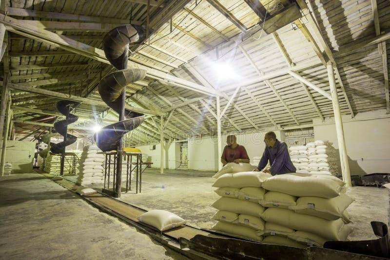 14 Οκτωβρίου 2014 r Kyiv Εργαζόμενοι στην επιχείρηση Εργασία δύο νέα καυκάσια ατόμων ως φορτωτές σε ένα παλαιό εργοστάσιο Τσάντες στοκ εικόνες