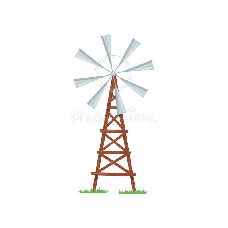 Οκτώ-λογχοειδής ανεμαντλία που χρησιμοποιείται στην άντληση του νερού από το έδαφος Παλαιός αγροτικός ανεμόμυλος στον ξύλινο πύργ διανυσματική απεικόνιση