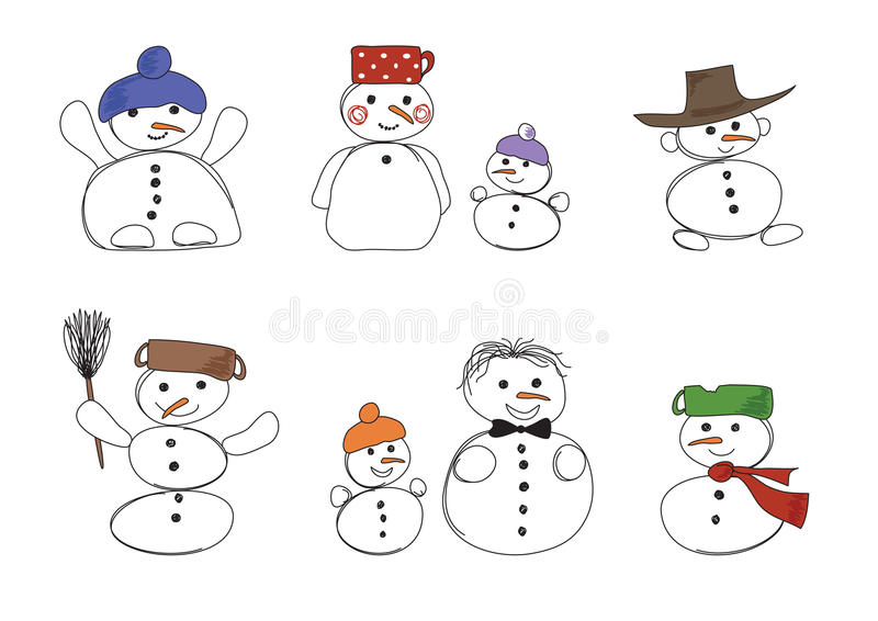 οκτώ χιονάνθρωποι διανυσματική απεικόνιση