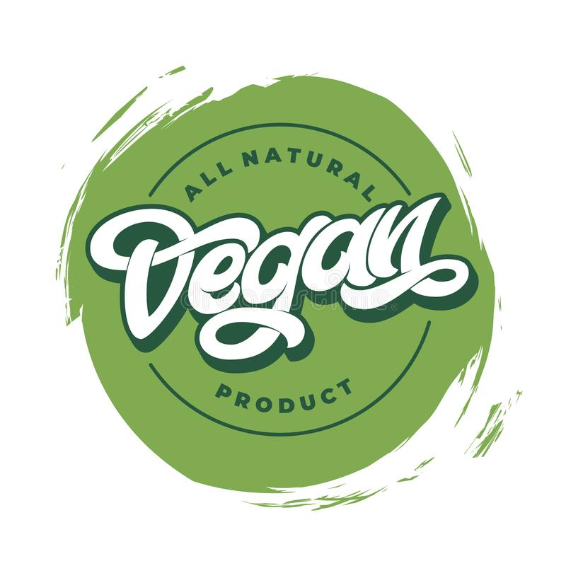 ΟΛΗ η ΦΥΣΙΚΗ αυτοκόλλητη ετικέττα ΠΡΟΪΌΝΤΩΝ VEGAN, στρογγυλή τέχνη συνδετήρων εικονιδίων διατροφής λογότυπων χορτοφάγος, πράσινο  διανυσματική απεικόνιση