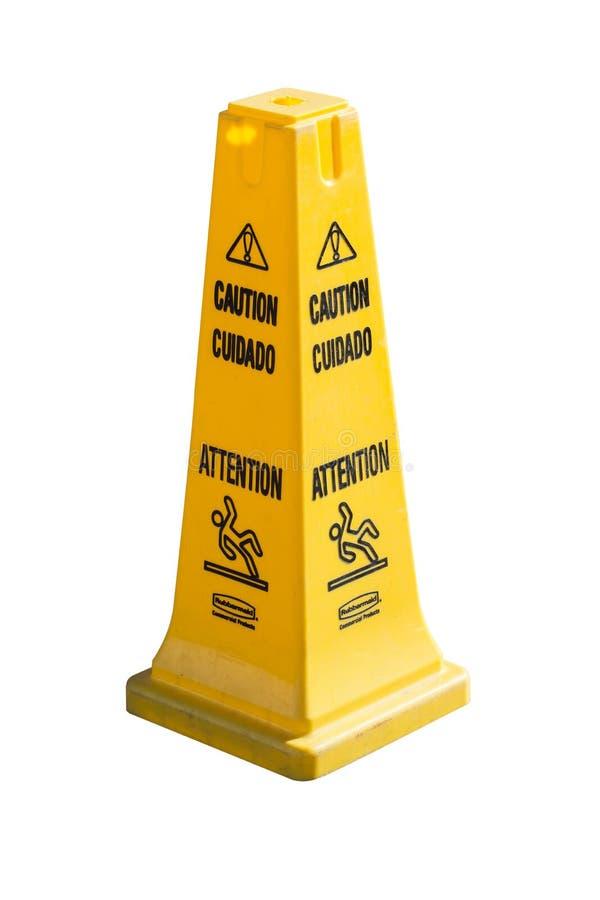 Ολισθηρά προειδοποιητικό σημάδι και σύμβολο επιφάνειας πατωμάτων στο κτήριο, υπόλοιπο στοκ φωτογραφία με δικαίωμα ελεύθερης χρήσης
