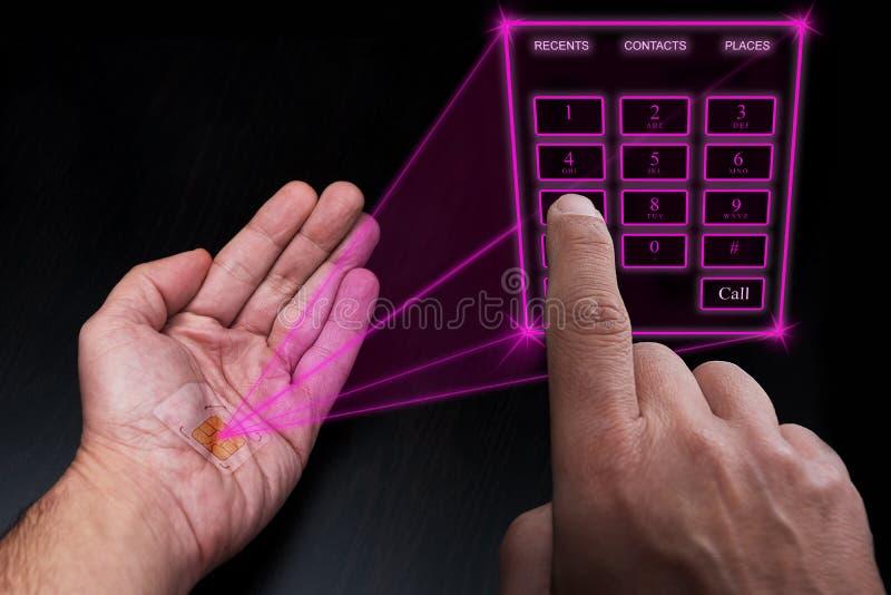 Ολογραφικό αριθμητικό πληκτρολόγιο που προβάλλεται τηλεφωνικό από το εμφυτευμένο SIM κάτω από το δέρμα απεικόνιση αποθεμάτων