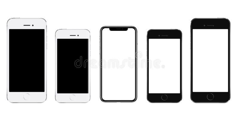 Ολοκαίνουργιο ρεαλιστικό κινητό τηλεφωνικό μαύρο smartphone σε τρία μεγέθη στοκ φωτογραφία