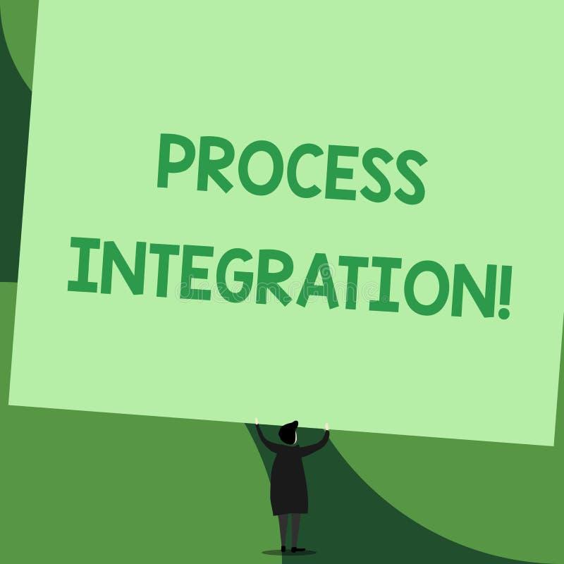 Ολοκλήρωση διαδικασίας γραψίματος κειμένων γραφής Έννοια που σημαίνει τη συνδετικότητα των υπηρεσιών συστημάτων και της πίσω άποψ διανυσματική απεικόνιση