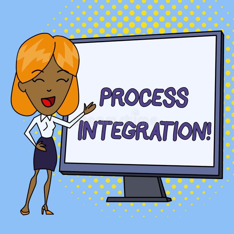 Ολοκλήρωση διαδικασίας κειμένων γραψίματος λέξης Επιχειρησιακή έννοια για τη συνδετικότητα των υπηρεσιών συστημάτων και το λευκό  απεικόνιση αποθεμάτων
