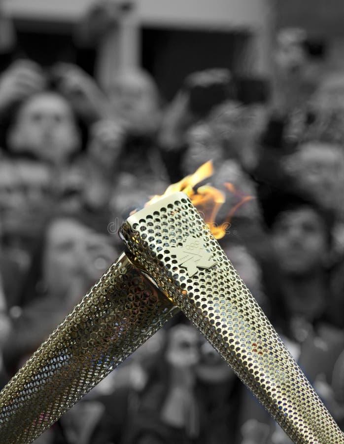 ολυμπιακός φανός ηλεκτρονόμων στοκ εικόνες με δικαίωμα ελεύθερης χρήσης