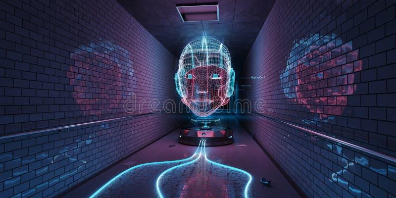 Ολόγραμμα Cyborg που προσέχει μια εσωτερική τρισδιάστατη απόδοση υπογείων ελεύθερη απεικόνιση δικαιώματος