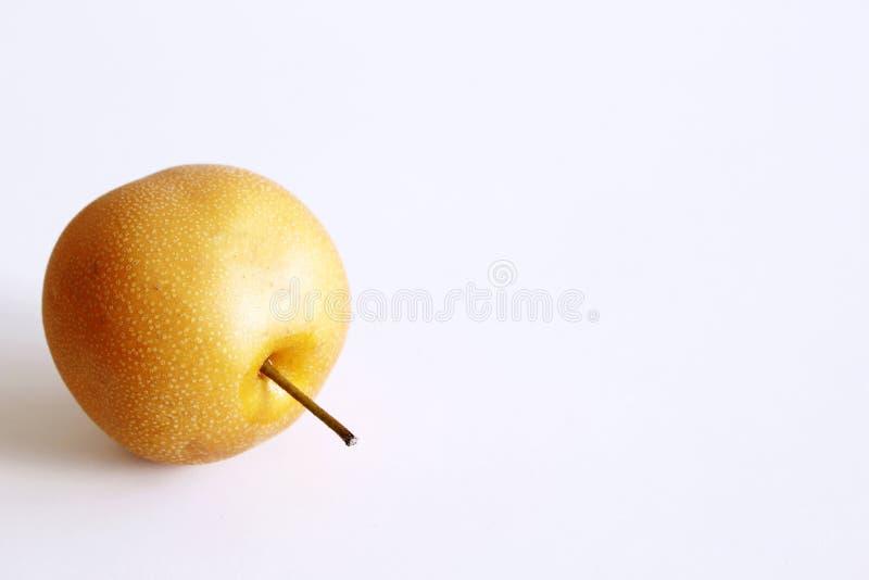 Ολόκληρο κινεζικό αχλάδι ή αχλάδι Nashi με το μίσχο στο άσπρο υπόβαθρο r Εύγευστα φρούτα στοκ εικόνες με δικαίωμα ελεύθερης χρήσης