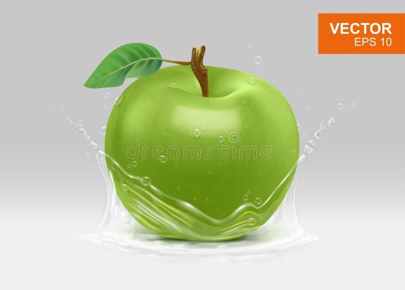 Ολόκληρο πράσινο μήλο με το ρεαλιστικό τρισδιάστατο στοιχείο σχεδίου παφλασμών νερού απεικόνιση αποθεμάτων