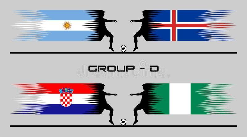 2018 ομάδα †«Δ χώρας ποδοσφαίρου διανυσματική απεικόνιση
