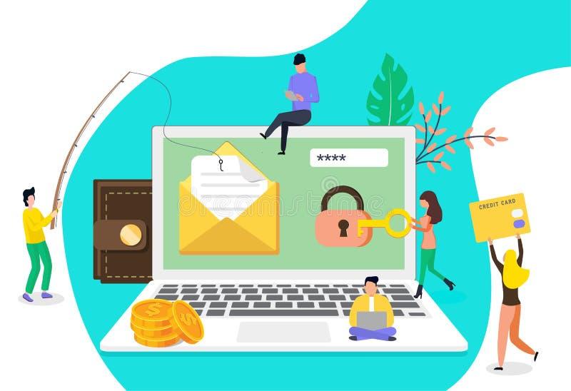 Ομάδα έννοιας stealing χάκερ διανυσματική απεικόνιση