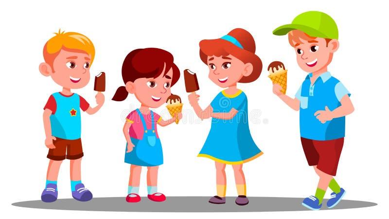 Ομάδα αγοριών και κοριτσιών που τρώνε το διάνυσμα παγωτού γλυκός Κατανάλωση απομονωμένη ωθώντας s κουμπιών γυναίκα έναρξης χεριών ελεύθερη απεικόνιση δικαιώματος