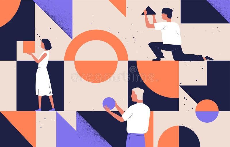 Ομάδα ανθρώπων που τακτοποιεί τις αφηρημένες γεωμετρικές μορφές Άνδρες και γυναίκες που κρατούν τους αριθμούς - κύκλος, τετράγωνο διανυσματική απεικόνιση