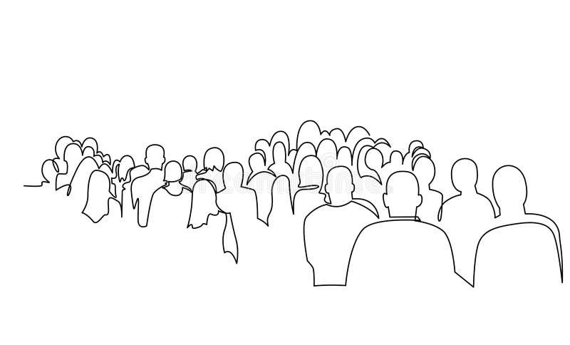 Ομάδα ανθρώπων συνεχής διανυσματικό σχέδιο γραμμών Πλήθος που στέκεται στη συναυλία, συνάντηση απεικόνιση αποθεμάτων