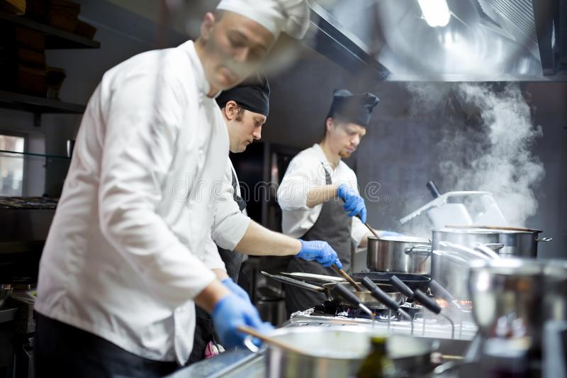 Ομάδα αρχιμαγείρων που εργάζονται στην κουζίνα στοκ εικόνα
