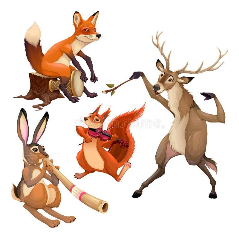 Ομάδα αστείων ζώων μουσικών με τον αγωγό διανυσματική απεικόνιση