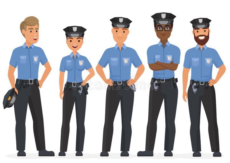 Ομάδα αστυνομικών ασφάλειας κινούμενων σχεδίων Διανυσματικοί χαρακτήρες σπολών αστυνομίας γυναικών και ανδρών διανυσματική απεικόνιση