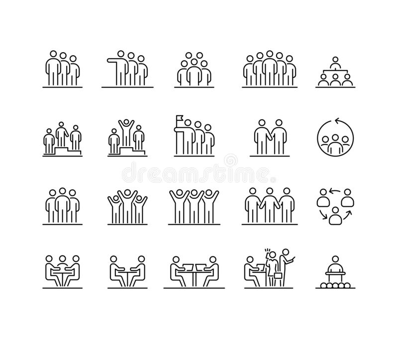 Ομάδα ατόμων 20 εικονίδια ορίζουν την απλή επίπεδη απεικόνιση απεικόνιση αποθεμάτων