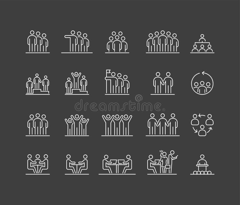 Ομάδα ατόμων 20 εικονίδια ορίζουν την απλή επίπεδη απεικόνιση ελεύθερη απεικόνιση δικαιώματος