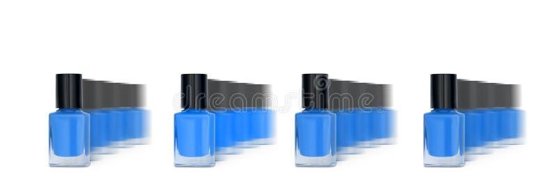 Ομάδα γυαλιών μπλε νυχιών απομονωμένη σε λευκό φόντο, πανό στοκ φωτογραφίες