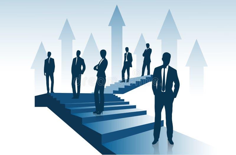 Ομάδα δαπανών επιχειρηματιών στη σκάλα που ανεβαίνει αντιπροσωπεύοντας την έννοια της επιτυχίας ελεύθερη απεικόνιση δικαιώματος