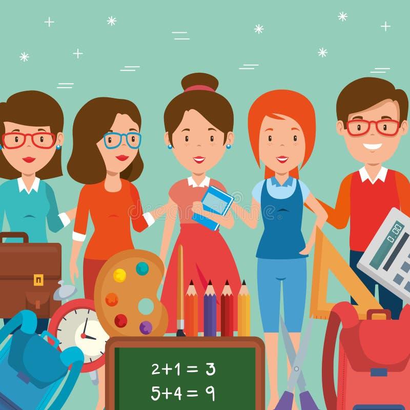 Ομάδα δασκάλων με τις σχολικές προμήθειες διανυσματική απεικόνιση