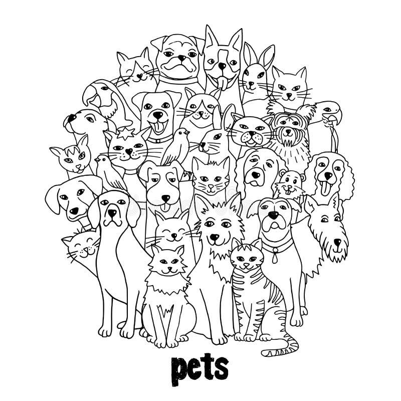 Ομάδα διάφορων κατοικίδιων ζώων απεικόνιση αποθεμάτων