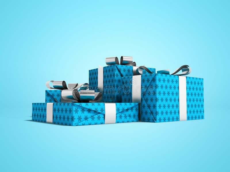 Ομάδα δώρων σε κουτί σε μπλε χαρτί με ασημένιες κορδέλες 3d απόδοση σε Î¼Ï απεικόνιση αποθεμάτων