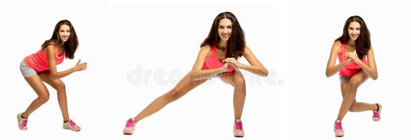 Ομάδα εικόνων με μια νέα όμορφη γυναίκα που κάνει την άσκηση στοκ φωτογραφία