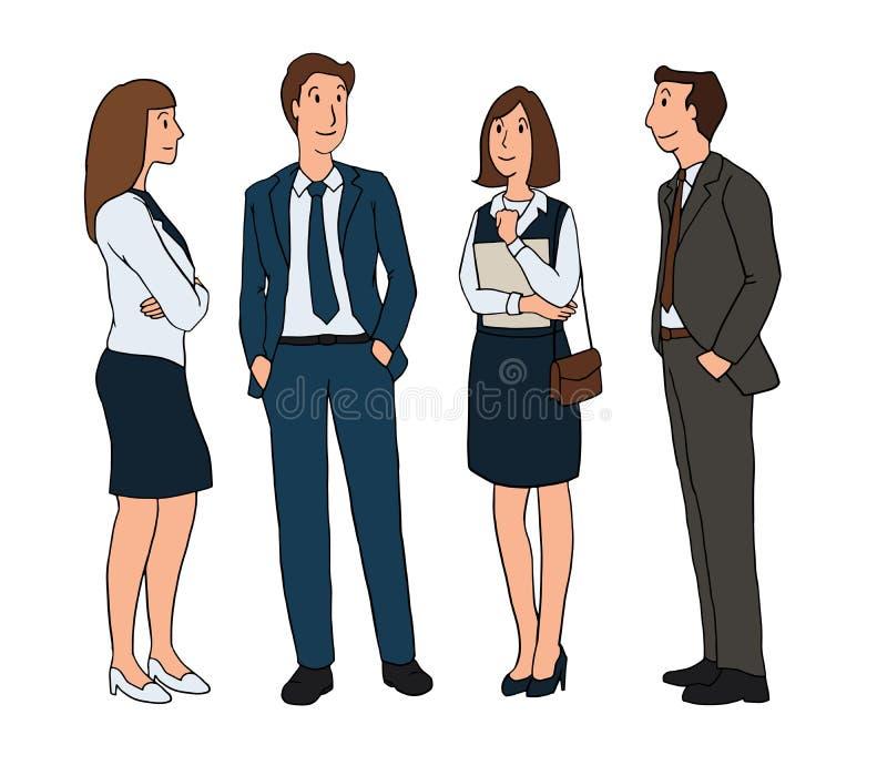 Ομάδα επιχειρηματιών που στέκονται και που μιλούν σε ένα άσπρο υπόβαθρο απομονωμένος χαρακτήρας σχεδίου κινούμενων σχεδίων έργου  ελεύθερη απεικόνιση δικαιώματος