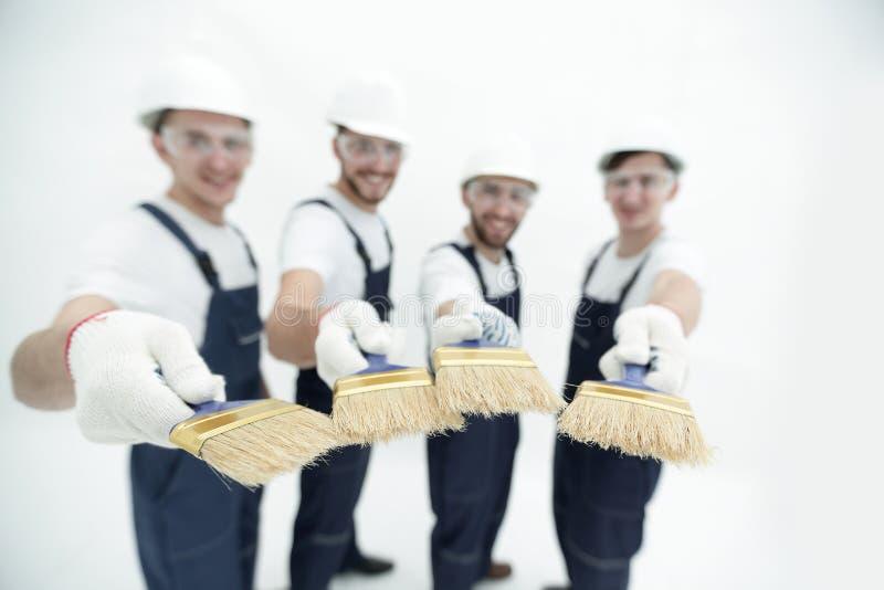 Ομάδα εργατών οικοδομών Απομονωμένος στο λευκό στοκ εικόνες με δικαίωμα ελεύθερης χρήσης