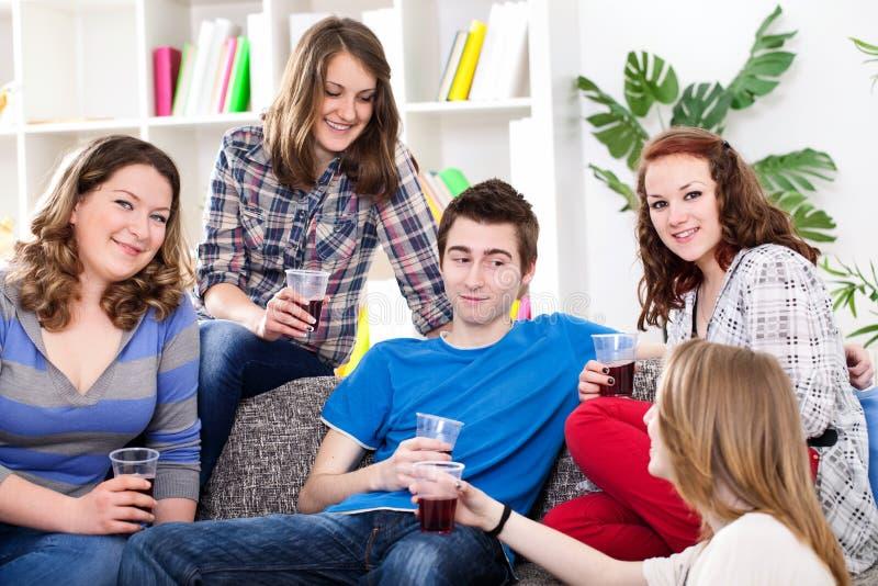 Ομάδα εφήβων που κάθονται στον καναπέ στο σπίτι στοκ φωτογραφία με δικαίωμα ελεύθερης χρήσης