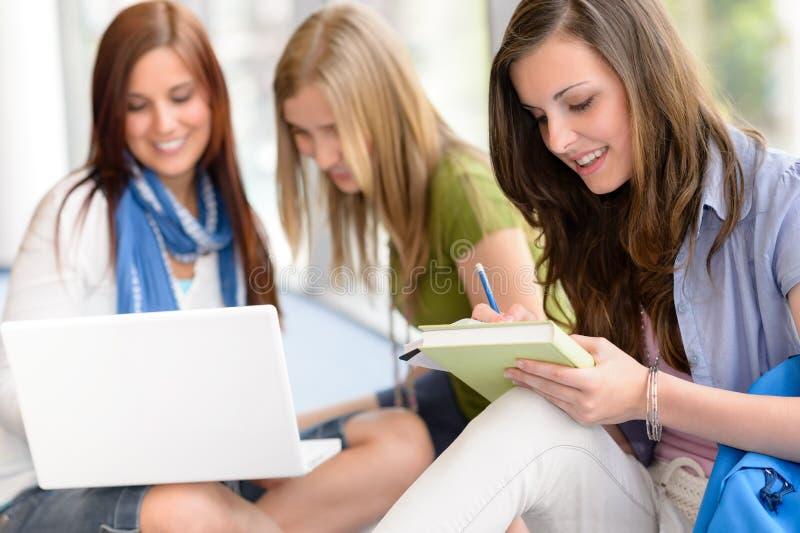 Ομάδα εφηβικής μελέτης σπουδαστών στο γυμνάσιο στοκ φωτογραφία