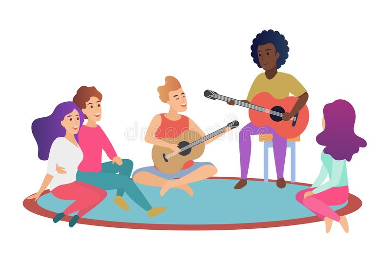 Ομάδα εύθυμων νέων φίλων που παίζουν τις κιθάρες και που τραγουδούν τα τραγούδια ξοδεύοντας το χρόνο μαζί στο διάνυσμα κινούμενων ελεύθερη απεικόνιση δικαιώματος