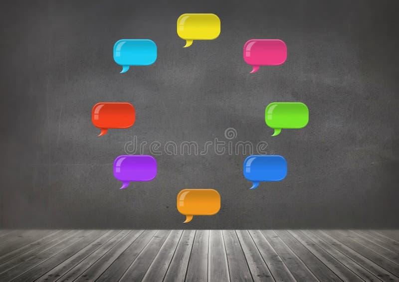 Ομάδα λαμπρών φυσαλίδων συνομιλίας που επιπλέουν στο δωμάτιο στοκ εικόνα