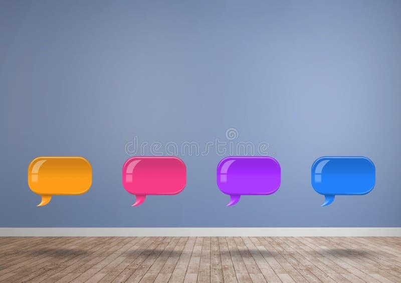 Ομάδα λαμπρών φυσαλίδων συνομιλίας που επιπλέουν στο δωμάτιο στοκ εικόνες