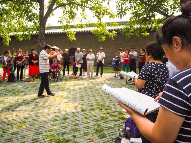 Ομάδα μέσου ηλικίας και συνταξιούχοι που τραγουδούν στο πάρκο στοκ εικόνες