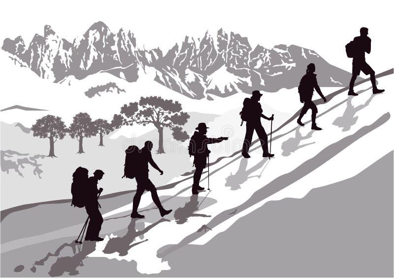 ομάδα ορειβασίας διανυσματική απεικόνιση